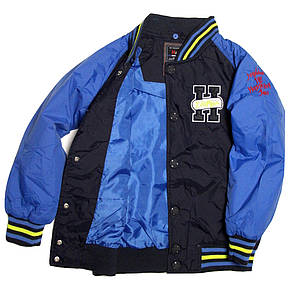 Модна весняна куртка-бомбер для хлопчика 6-8 років синя, фото 2