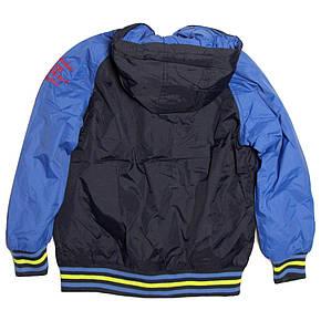 Модная весенняя куртка бомбер  для мальчика 6-8 лет синяя, фото 2