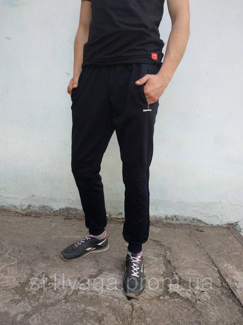 Спортивные мужские брюки Reebok на манжете темно-синий