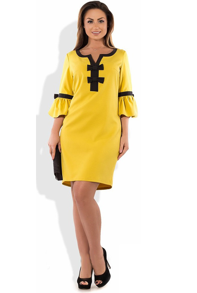 Горчичное платье футляр мини размеры от XL ПБ-218