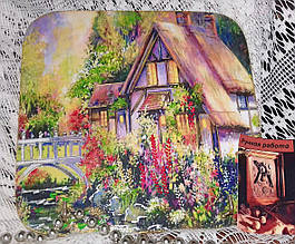 Ключница настенная декоративная на стену Домик в цветах 18,5*18,5 см