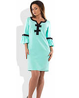 Ментоловое платье футляр мини размеры от XL ПБ-219