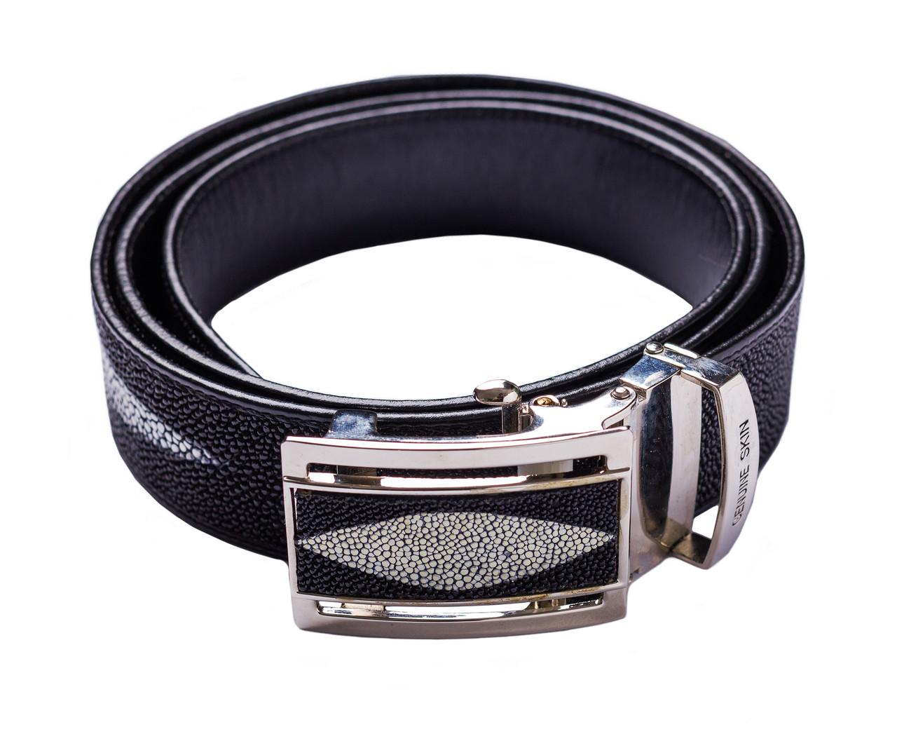 Ремень из кожи ската Ekzotic Leather Черный (stb03)