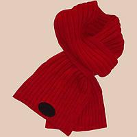 Вязаный зимний шарф - петля машинной вязки , красного цвета
