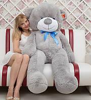 Большой плюшевый медведь серый 180 см