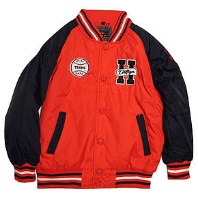 Куртка-бомбер демисезонная для мальчика от 7 до 10 лет красная, фото 2