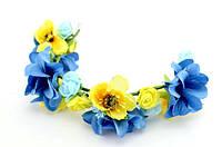 Украшение для волос веточка с цветами синего и желтого цвета