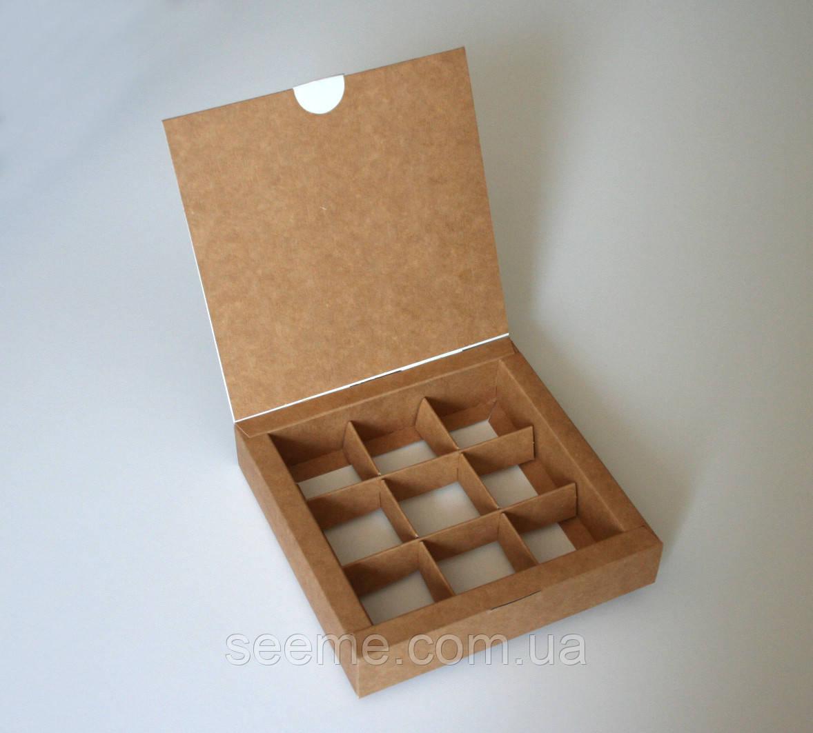 Коробка подарочная из крафт картона для 9 конфет 150х150х30 мм.