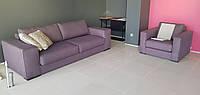 Трехместный раскладной диван + кресло коричневый текстиль MANHATTAN фабрика ALBERTA (Италия)