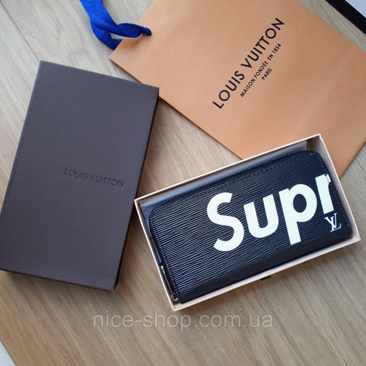 Кошелек Louis Vuitton Supreme черный в коробке