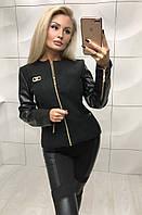 Куртка женская из кашемира и экокожи на тонкой подкладке ft-349 черная