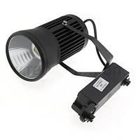 Светодиодный трековый светильник 20W черный 6500К Код. 58038