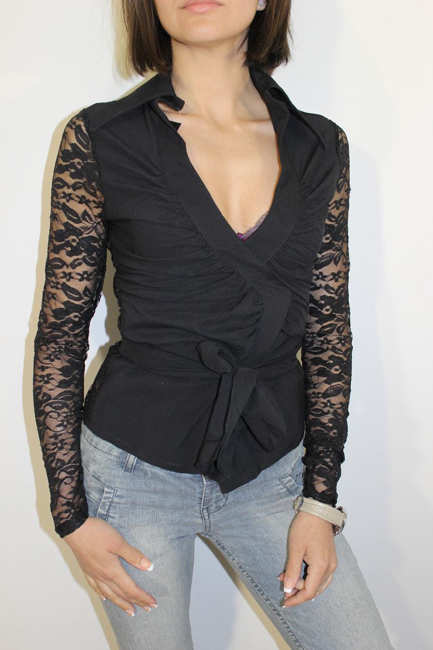 Рубашка женская гипюр черная