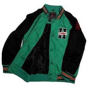 Куртка-бомбер демисезонная для мальчика  7-8 лет зеленая, фото 2