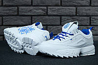 Кроссовки Fila Disruptor женские, белые с синим, в стиле Фила Дизраптор, материал - кожа, подошва - пена, код  KD-11530.