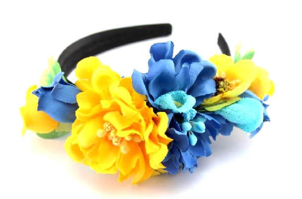 Дизайнерский обруч с цветами синего и желтого цвета