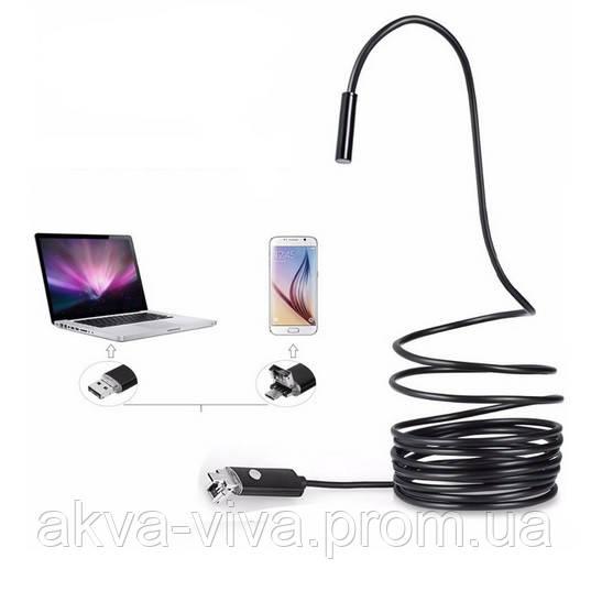Эндоскоп улучшенный водонепроницаемый USB/miсroUSB. Диаметр 5,5мм. Длина от 1м до 5м