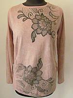 Туника тонкий трикотаж, спереди узор цветы со стразами карман обманка, два цвета р.50-52,54-56 код 1534М