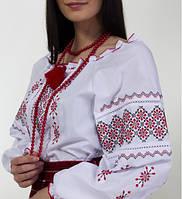 Вышиванка женская на белом хлопке с красным узором, фото 1