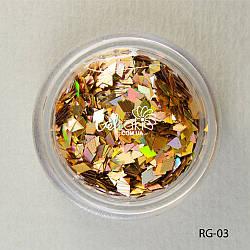 Пайетки ромбы для дизайна ногтей (золото), RG-03
