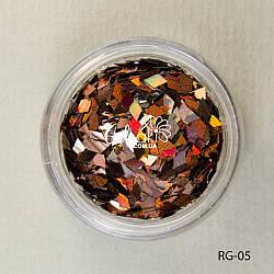 Пайетки ромбы для дизайна ногтей (коричневый), RG-05