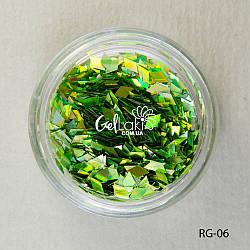 Пайетки ромбы для дизайна ногтей (зеленый), RG-06