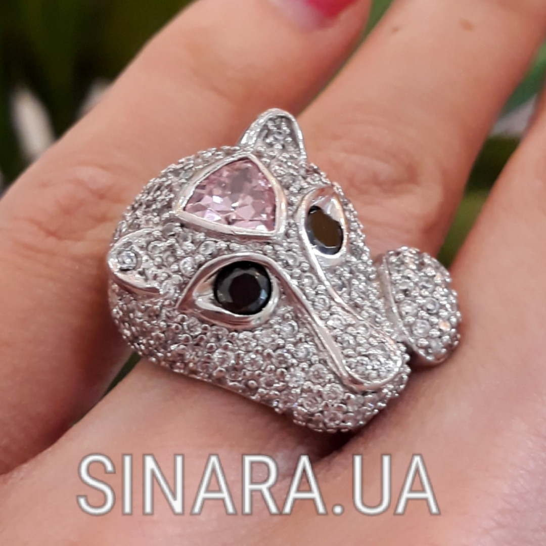 Серебряное кольцо Пантера - Розовая Пантера кольцо серебро
