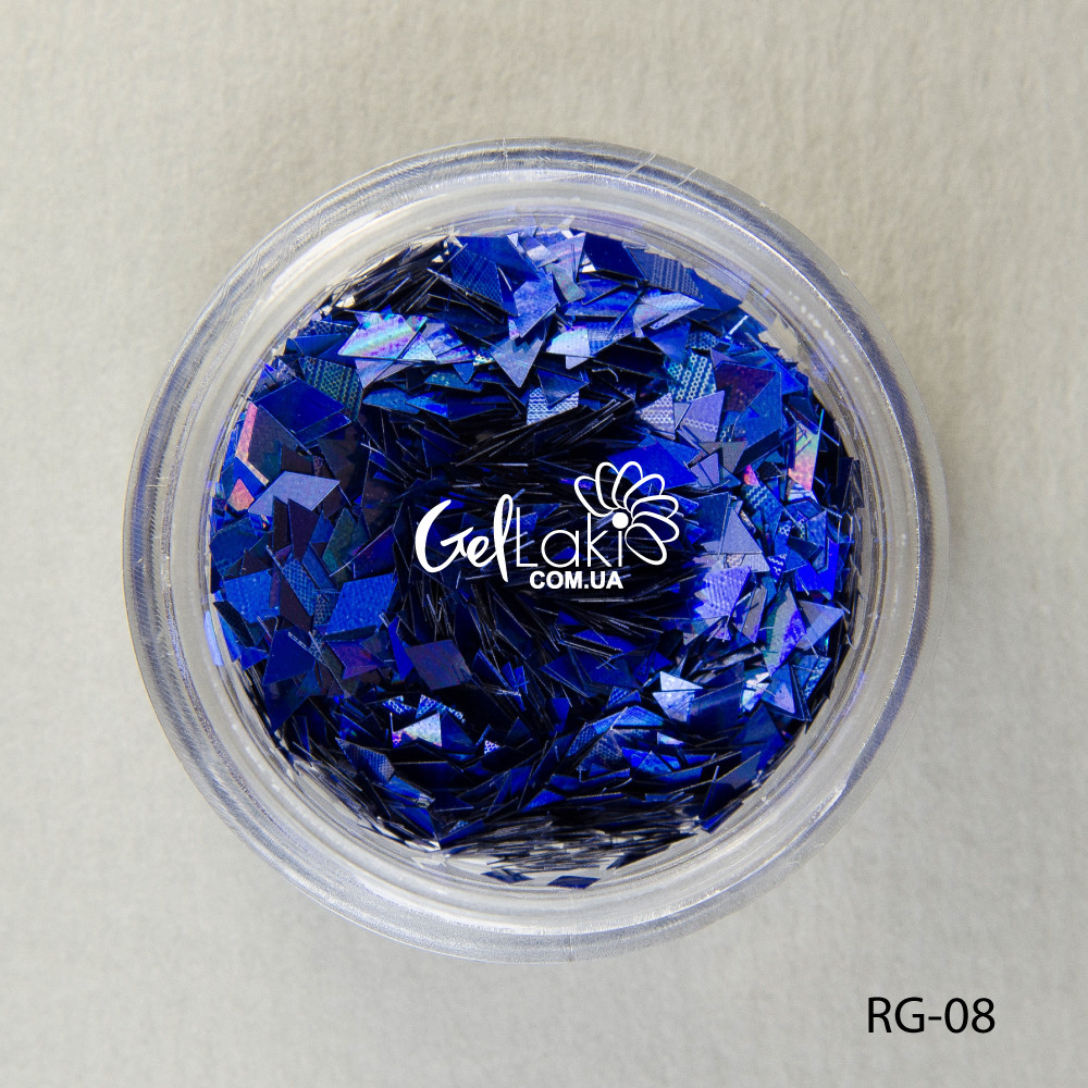Пайетки ромбы для дизайна ногтей (синий), RG-08