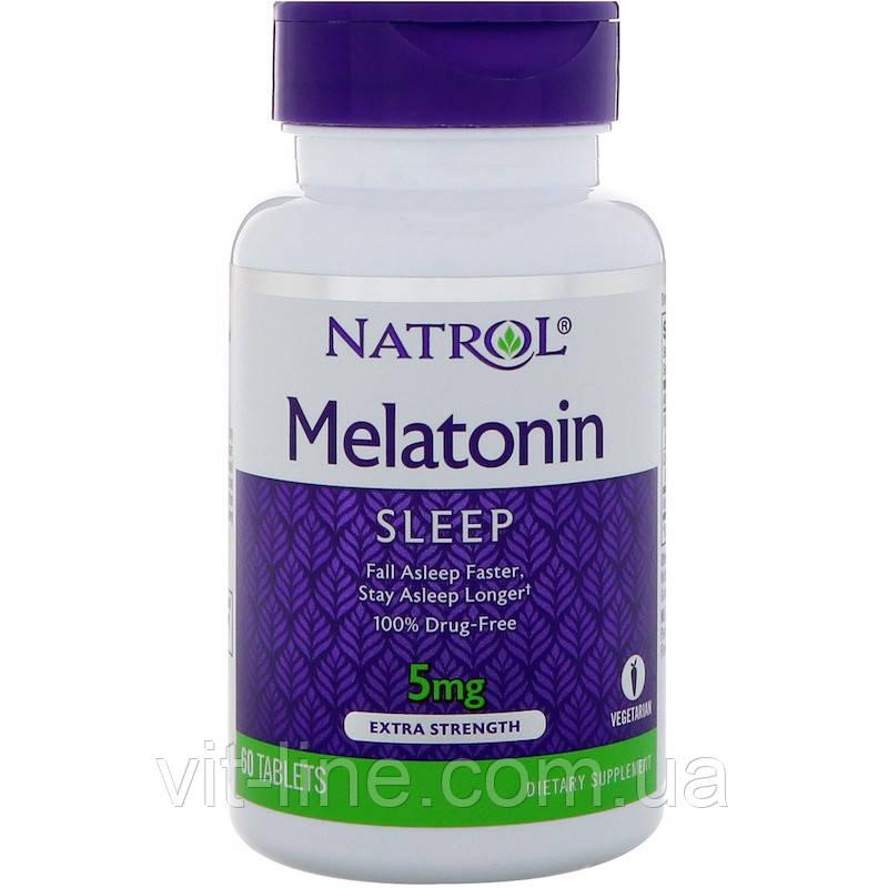 Natrol, Мелатонин , 5 мг, 60 таблеток