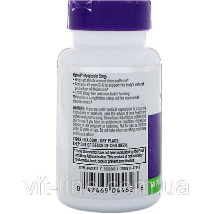 Natrol, Мелатонин , 5 мг, 60 таблеток, фото 2