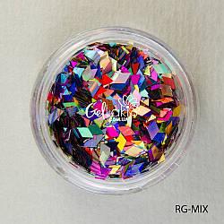 Пайетки ромбы для дизайна ногтей (микс цветов), RG-MIX