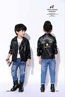 Детская косуха с вышивкой на спине. Унисекс.  Кожаная куртка для детей.