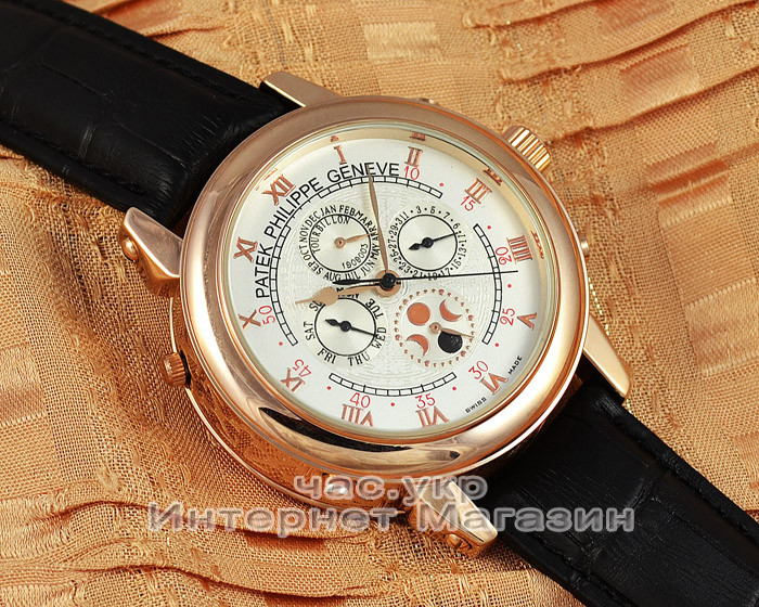 efcce670 Мужские наручные часы Patek Philippe Sky Moon Tourbillon Gold White реплика  отличное качество Патек Филип -