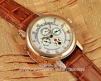Мужские наручные часы Patek Philippe Sky Moon Tourbillon Gold White реплика отличное качество Патек Филип
