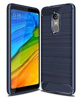 """Силиконовый чехол Carbon для Xiaomi Redmi 5 / на 5,7"""" дюйма диагональ Синий"""