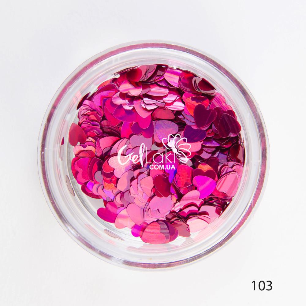 Камифубики (сердечки) для дизайна ногтей (розовый), 103