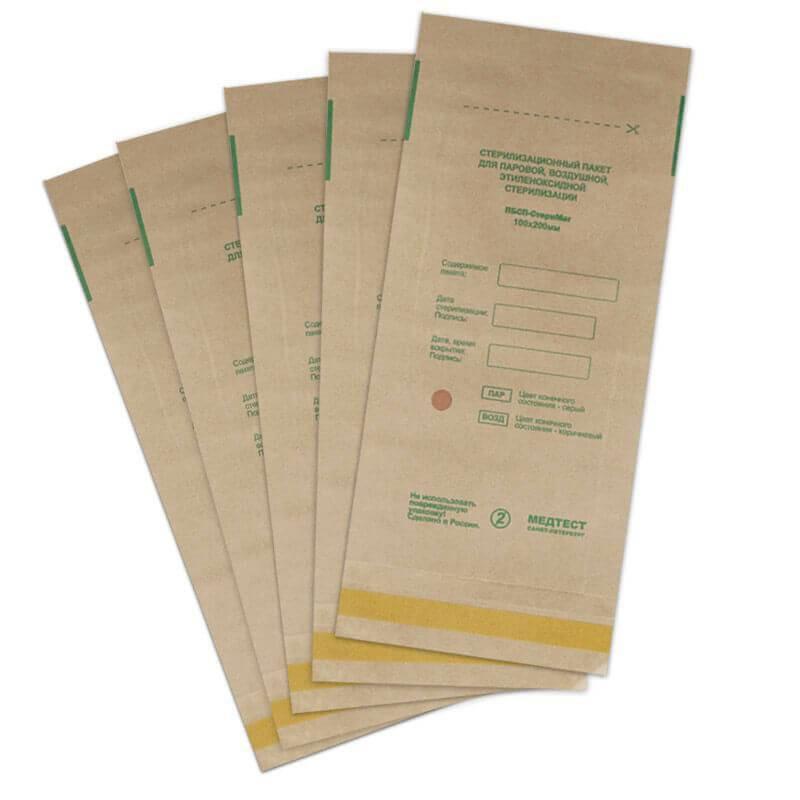 Крафт пакеты для паровой и воздушной стерилизации (100/200 мм.) 1 шт.