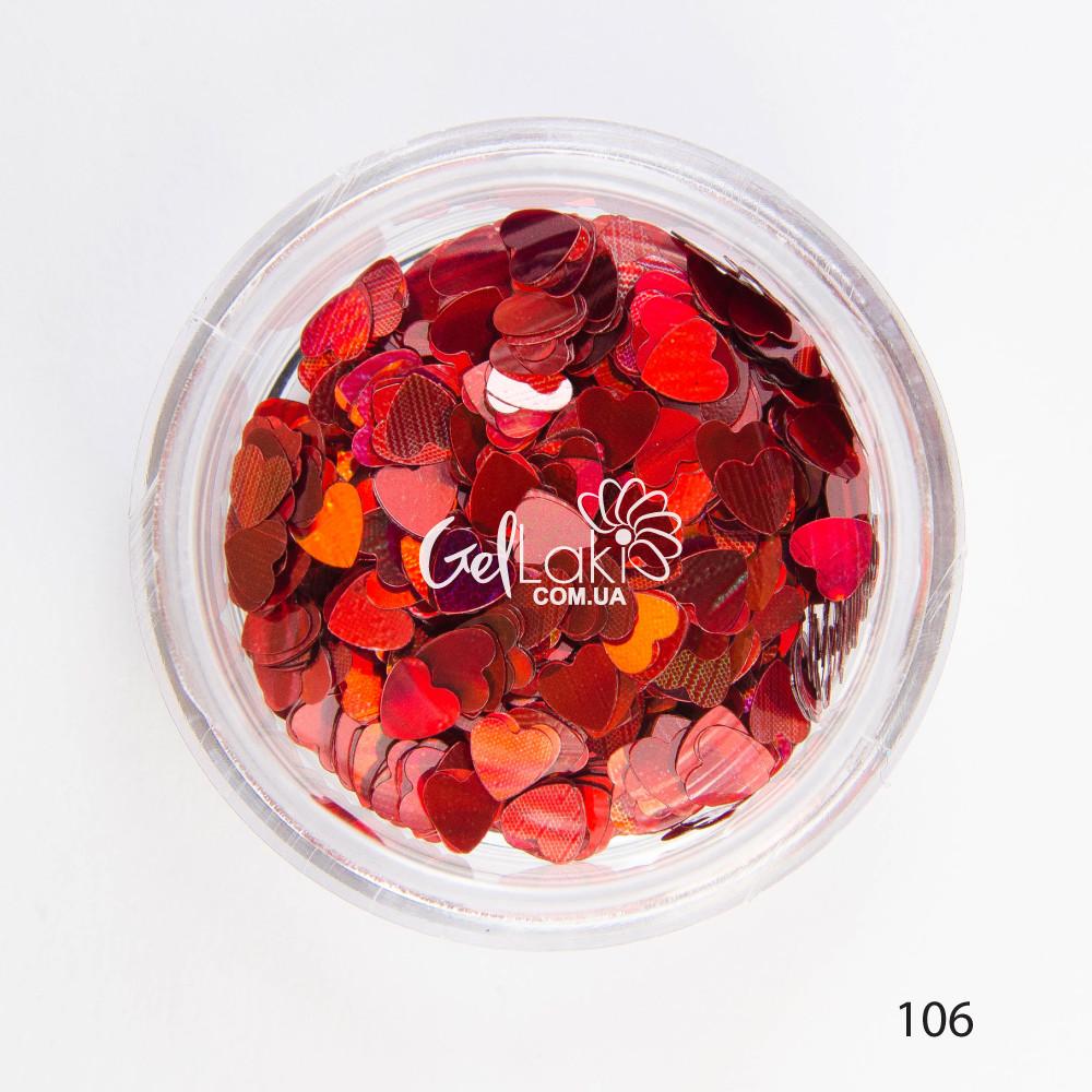 Камифубики (сердечки) для дизайна ногтей (красный), 106