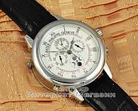 Мужские наручные часы Patek Philippe Sky Moon Tourbillon Silver White реплика отличное качество Патек Филип