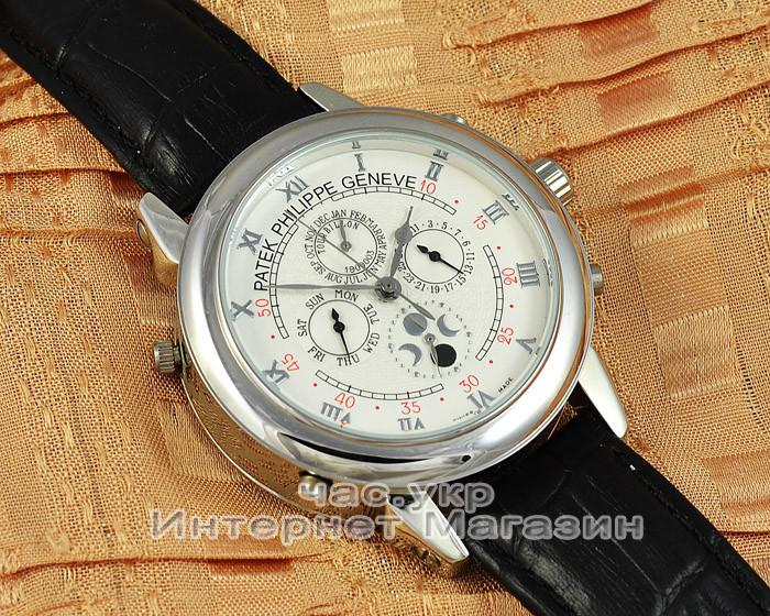 cfd21e8c Мужские наручные часы Patek Philippe Sky Moon Tourbillon Silver White  реплика отличное качество Патек Филип -