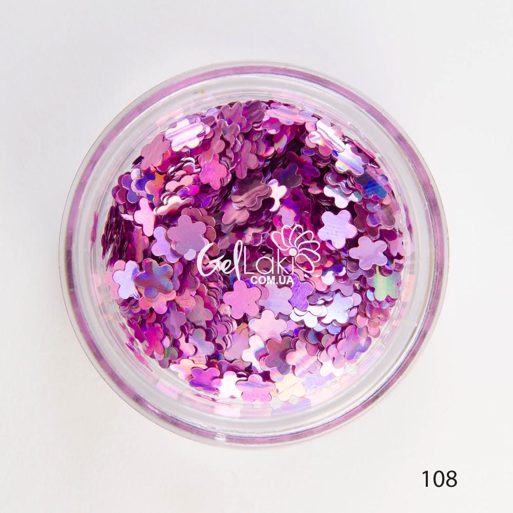 Камифубики (цветы) для дизайна ногтей (сиреневый), 108