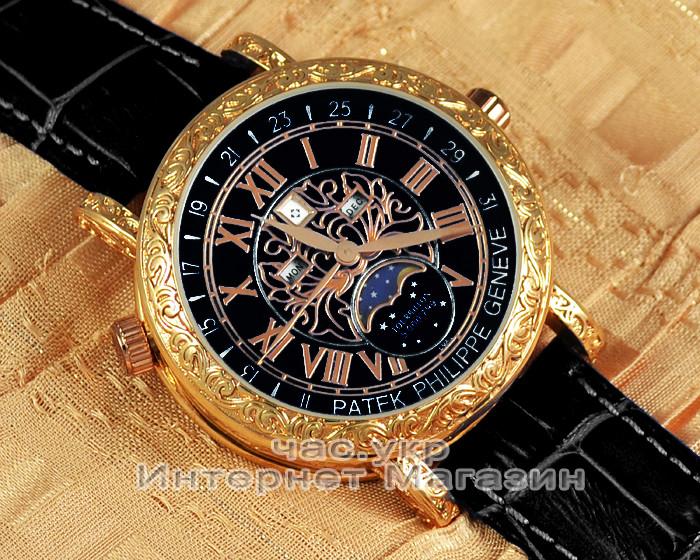 252e7d3f Мужские наручные часы Patek Philippe Sky Moon Tourbillon 6002G-001 Gold  Black реплика Кварц Кварцевые