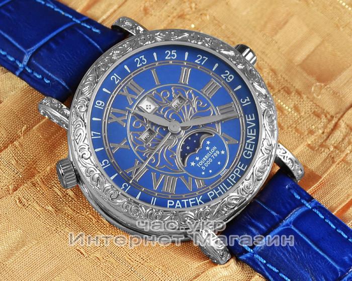 Мужские наручные часы Patek Philippe Sky Moon Tourbillon 6002G-001 Silver Blue реплика Кварц Кварцевые
