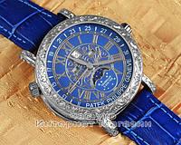 Мужские наручные часы Patek Philippe Sky Moon Tourbillon 6002G-001 Silver Blue реплика Кварц Кварцевые, фото 1