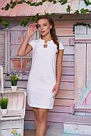 Стильное платье мини из льна с коротким рукавом облегающее белое