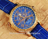 Мужские наручные часы Patek Philippe Sky Moon Tourbillon 6002G-001 Gold Blue реплика Кварц Кварцевые, фото 1