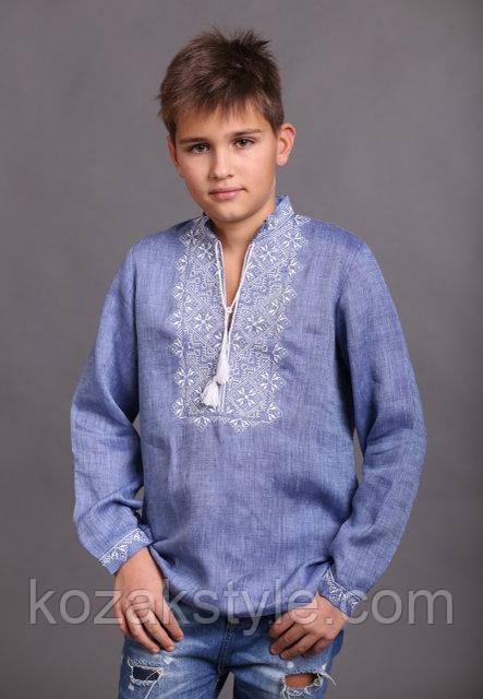 Вишиванка хлопчикова джинсового кольору з білою вишивкою - Український  одяг. Патріотичний одяг. Вишиванки. 95d2a7d82097f