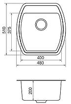 Кухонная мойка кварц 51*48 см VANKOR Norton NMP 01.48 Black, фото 3