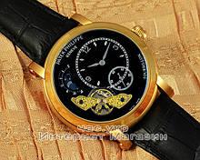 Мужские наручные часы Patek Philippe Chronograph Minutes Heures Gold Black реплика ААА