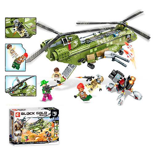 Конструктор 11700  военный, вертолет,фигурки, 506дет, в кор-ке,43-33-7